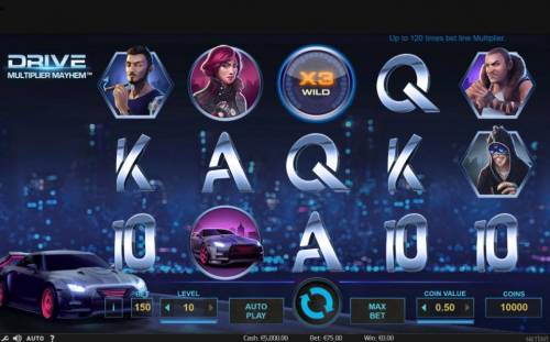 Drive Multiplier Mayhem Review Slots Main game board featuring five reels and 15 paylines with a 750,000 coins max payout