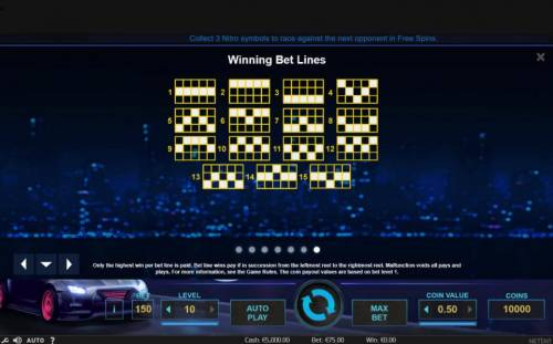 Drive Multiplier Mayhem Review Slots Payline Diagrams 1-15 Only the highest win per bet line is paid. Bet line wins pay if in succession from the leftmost reel to the rightmost reel.