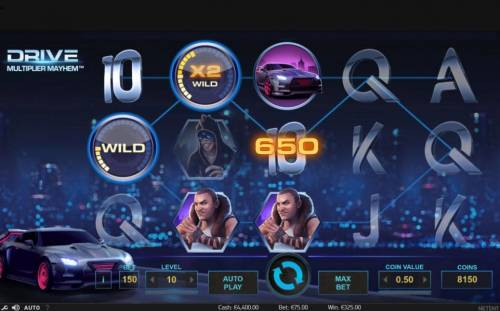 Drive Multiplier Mayhem Review Slots A pair of Pig Wizard Wild symbols triggers multiple winning paylines and a big win.