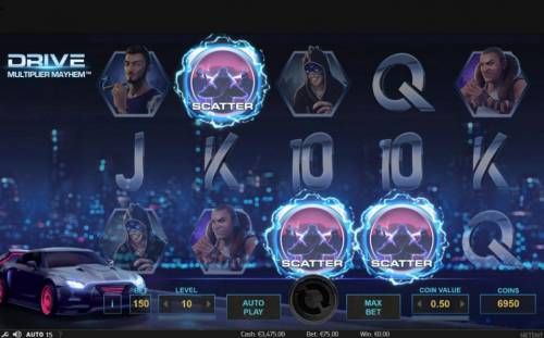 Drive Multiplier Mayhem Review Slots Three scatter symbols activate 10 free spins.