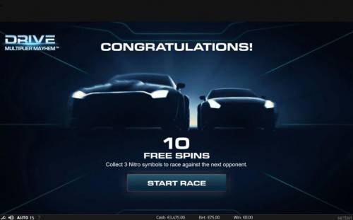 Drive Multiplier Mayhem Review Slots 10 Free Spins awarded. Collect 3 Nitro symbols to race against the next opponent.