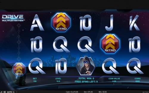 Drive Multiplier Mayhem Review Slots Collect Nitro symbols during free spins to win more free spins and random wild multiplier overlay.