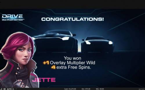 Drive Multiplier Mayhem Review Slots 4 extra free spins awarded and 1 additional multiplier wild overlay
