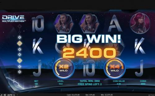 Drive Multiplier Mayhem Review Slots A five of a kind triggers a 2400 coin big win during the free spins feature.