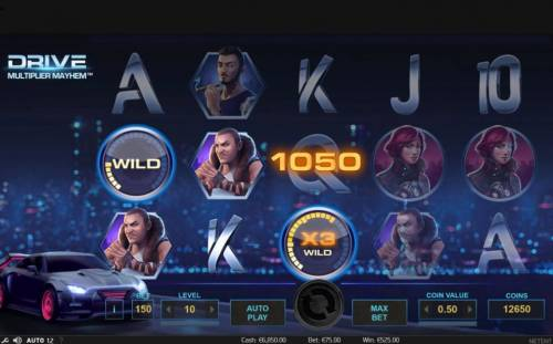 Drive Multiplier Mayhem Review Slots A 1,050 coin big win triggered by multiple winnng paylines.