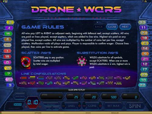 Drone Wars Review Slots game rules, scatter pays, substitution pays and line configurations