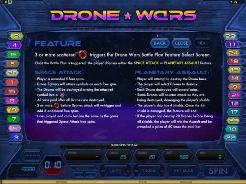 Drone Wars Review Slots 3 or more scatter symbols triigers the drone wars battle plan feature select screen