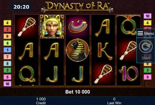 Dynasty of Ra Review Slots An Egyptian themed main game board featuring five reels and 10 paylines with a $2,000,000 max payout