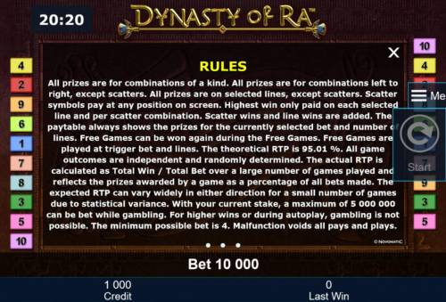 Dynasty of Ra Review Slots General Game Rules - The theoretical average return to player (RTP) is 95.01%.