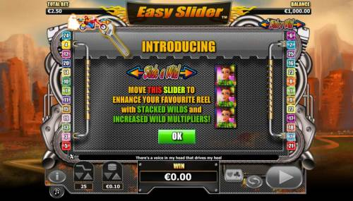 Easy Slider Review Slots Slide-A-Wild - move the slider to enhance your favorite reel with stacked wilds and increased wild multipliers