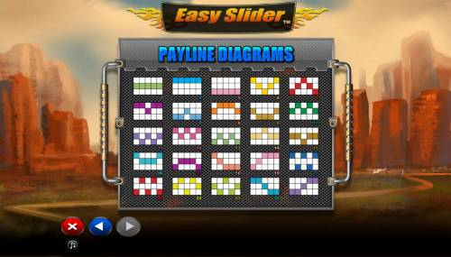 Easy Slider Review Slots Payline Diagrams 1-25