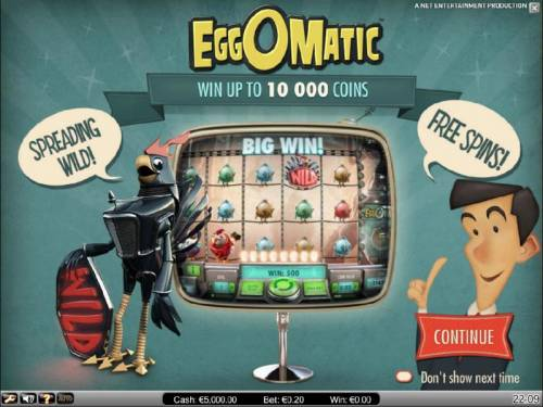 EggOMatic Review Slots win up to 10,000 coins, speading wilds and free spins