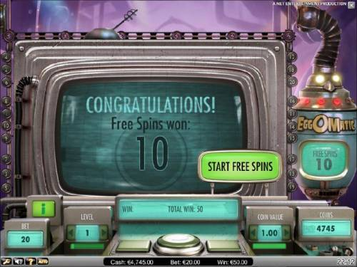 EggOMatic Review Slots free spins bonus feature starts