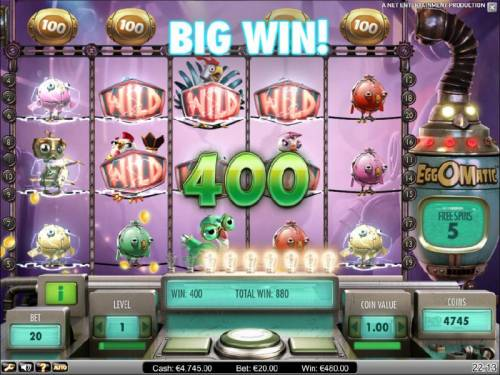 EggOMatic Review Slots spreading wild feature triggers a 400 coin big win jackpot