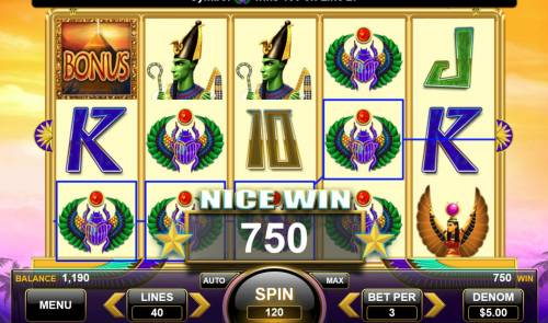 Egyptian Gods Review Slots Multiple winning paylines triggers a 750 coin big win!