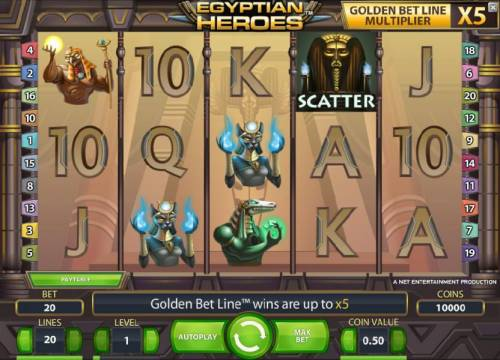 Egyptian Heroes Review Slots main game board featuring five reels, twenty paylines and a chance to win up to 100000 coins