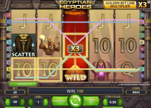 Egyptian Heroes Review Slots expanding wild with a x3 multiplier triggers a 108 coin jackpot