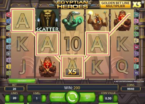 Egyptian Heroes Review Slots four of a kind and a golden belt line multiplier triggers a 200 coin jackpot