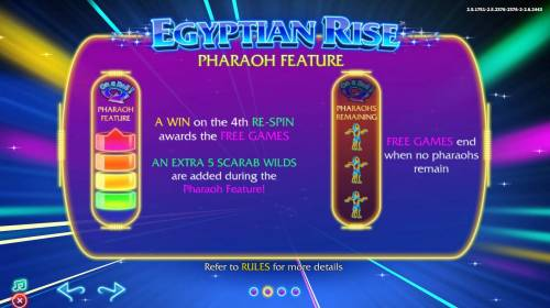 Egyptian Rise Review Slots Pharaoh Feature - A win on the 4th re-spin awards the Free Games.