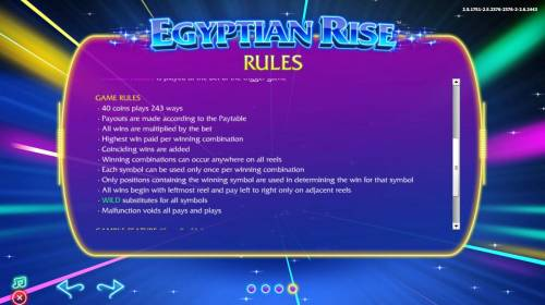 Egyptian Rise Review Slots General Game Rules