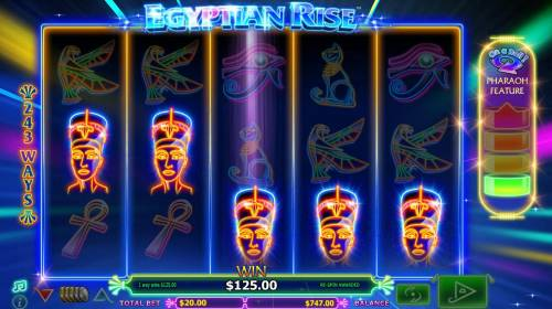 Egyptian Rise Review Slots A five of a kind triggers 125.00 big win.