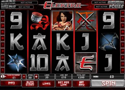 Elektra Review Slots main game board featuring 5 reels and 20 paylines