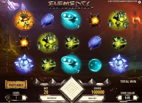 Elements The Awakening Review Slots main game board featuring five reels and twenty paylines
