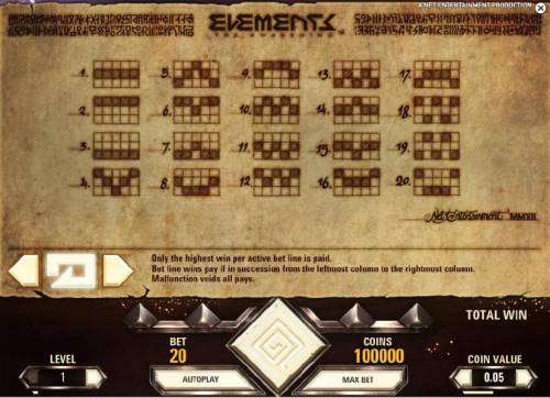 Elements The Awakening Review Slots payline diagrams