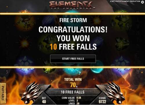 Elements The Awakening Review Slots fire storm feature - 10 free falls awarded
