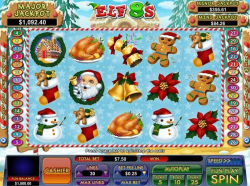 Elf 8's Review Slots A Christmas holiday themed main game board featuring five reels and 30 paylines with a progressive jackpot max payout