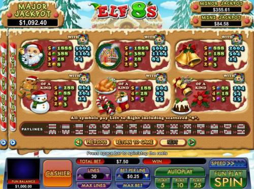 Elf 8's Review Slots Slot game symbols paytable featuring Christmas holiday inspired icons.
