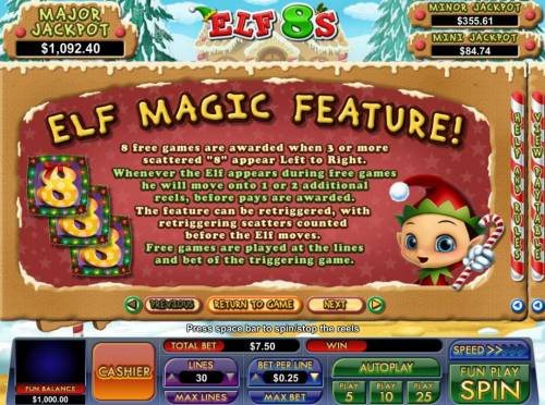 Elf 8's Review Slots Elf Magic feature - 8 free games are awarded when 3 or more scattered 8s appear left to right.