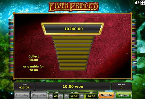 Elven Princess Review Slots Ladder Gamble Feature Game Board available after every winning spin.