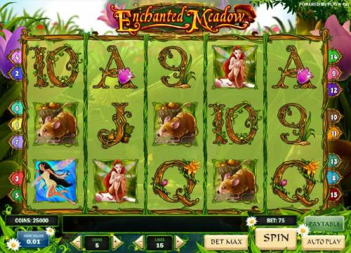 Enchanted Meadow Review Slots main game board featuring five reels and 15 paylines with a 2500x max payout