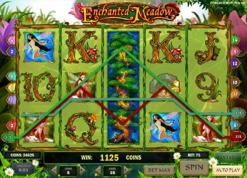 Enchanted Meadow Review Slots expanded wild symbol triggers an 1125 coin big win payout