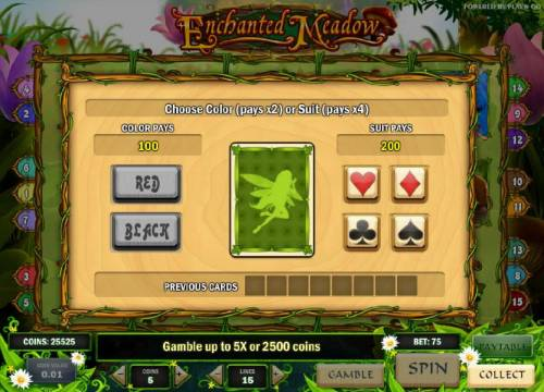 Enchanted Meadow Review Slots gamble feature game board - choose a color or suit for a chance to increase your winnings