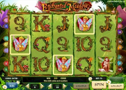 Enchanted Meadow Review Slots three scatter symbols triggers a 225 coin jackpot