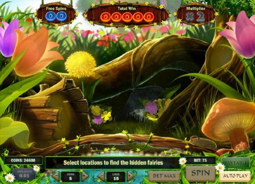 Enchanted Meadow Review Slots bonus game board - find the hidden fairies to reveal a prize. watch out for the bee though.