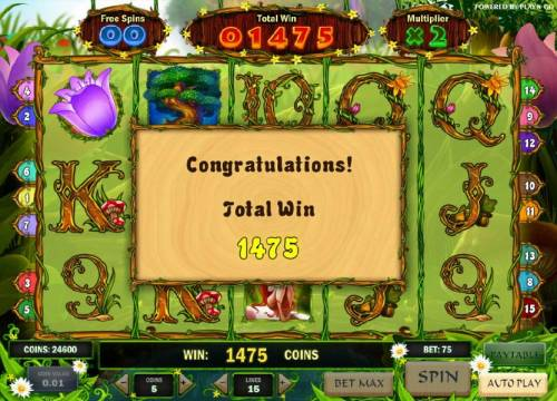 Enchanted Meadow Review Slots bonus game pays out 1475 coins