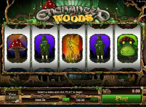 Enchanted Woods Review Slots Main game board featuring five reels and 1 payline with a $18,000 max payout