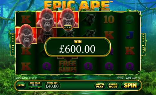 Epic Ape Review Slots Multiple winning paylines triggers a big win