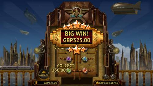 Epic City Review Slots Power Bonus game play ends when the Collect is revealed.