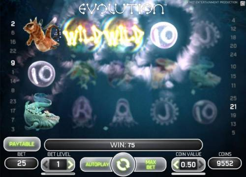 Evolution Review Slots wild symbols triggers multiple winning paylines for a 75 coin jackpot