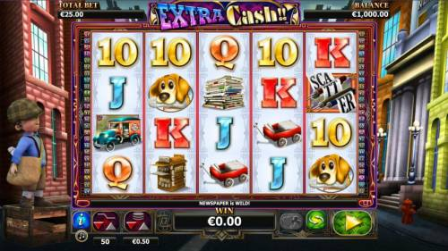 Extra Cash Review Slots Main game board featuring five reels and 50 paylines with a $1,000 max payout
