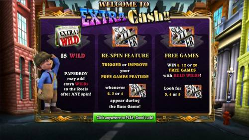 Extra Cash Review Slots Game feature include Extra Wild, Re-Spin Feature and Free Games