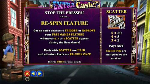 Extra Cash Review Slots scatter symbol paytable and re-spin fetaure rules
