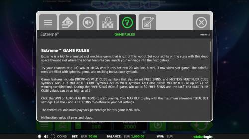 Extreme Review Slots General Game Rules - The theoretical average return to player (RTP) is 96.56%.