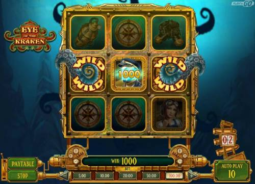 Eye of the Kraken Review Slots A randomly triggered tentacle wilds trigger a three of a kind 1000 coin big win.