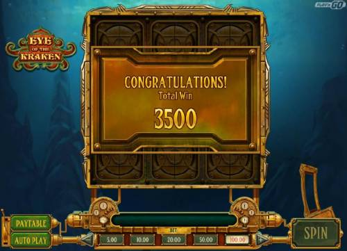 Eye of the Kraken Review Slots The Conquer the Karken bonus round pays out a total of 3500 coins for a big win.