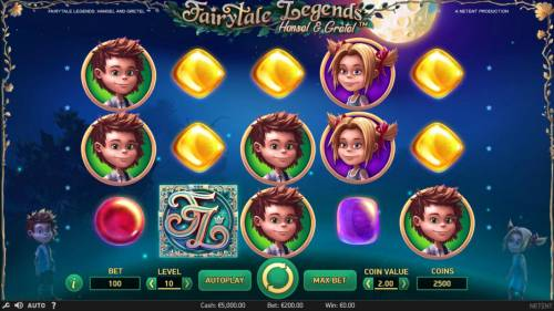 Fairytale Legends Hansel & Gretel Review Slots Main game board featuring five reels and 10 paylines with a $8,000 max payout.